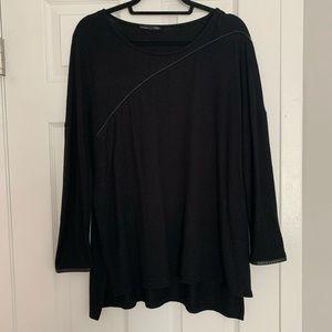Zara Black Sweater w Faux Leather Trim M